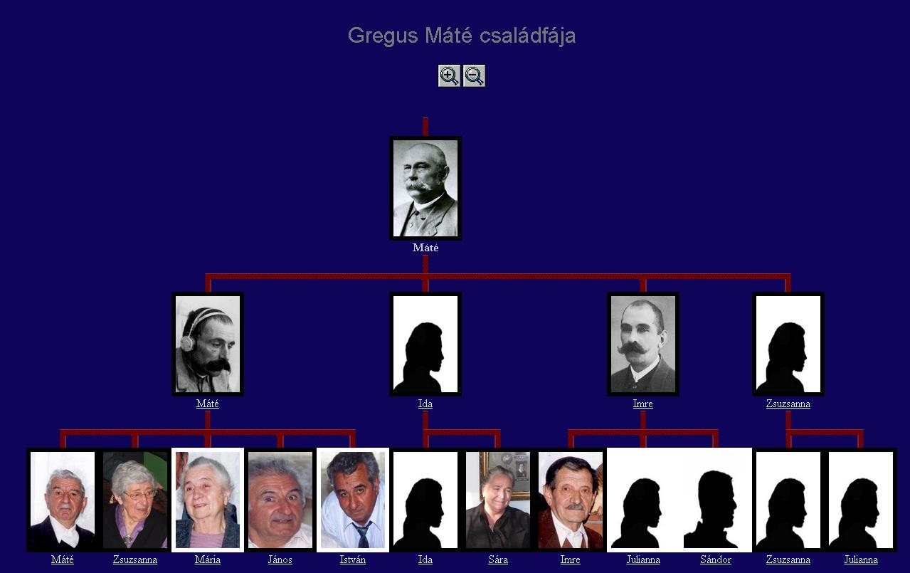 A családfa program egy jellemző képe.